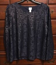 Chico's Gold & Navy Foil Lace Top Size 3 (16/18) NWT