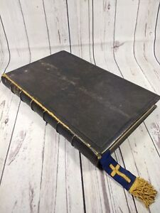Antique 1849 Common Prayer Book Large Lectern Size Leather Bound Church Readings