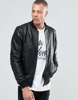 Men Leather Jacket Black Lambskin Varsity Bomber Size S M L XL Custom Made 720