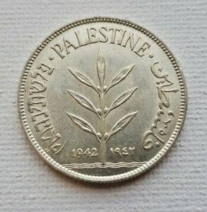 Palestine Coin 100 Mil Mils 1942 KM7 720 Silver UNC British Mandate In Israel