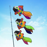 Hot 3Pcs Rainbow Cute Fish Windsock Spinner with Swivel Garden Outdoor Kids Fun