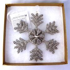 MMA Christmas Ornament Beaded Snowflake Star Silver Glass Beads Box Tags Vintage