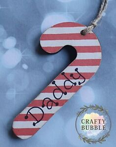 HANDMADE PERSONALISED CANDY CANE CHRISTMAS TREE BAUBLE ORNAMENT.WOODEN