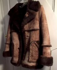 Genuine Leather & Shearling Fur Rancher Winter Coat Jacket Small Sz COOPER USA
