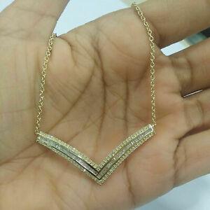 1 Ct Round & Baguette Cut Diamond V-Shape Pendant Necklace 14K Yellow Gold Over