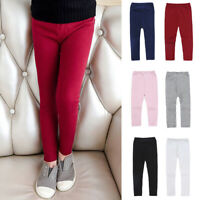 Kids Girls Leisure Pants Winter Thermo Solid Color Cotton Leggings Long Trousers