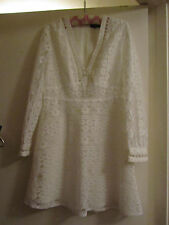 Cream Floral Lace Short Topshop Dress with See Through Sleeves Size 10 / 12 NWOT