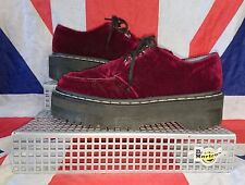Rare*Aggy Dr Doc Martens Cherry Red Velvet Creepers*Agyness Deyn*Goth*Punk*UK 4