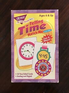Time Telling Flash Cards Ages 6 & up 52 Cards Analog Digital Award Winner