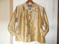 Indigo Moon Jacket XXL Gold Beaded Satin Sequin Evening Embroidered Satin Floral