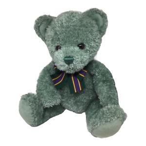 """Gund Riley Teddy Bear Green Plush Stuffed Animal Striped Bow 100 year Toy 15"""""""
