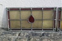 Vintage Antique Stained Glass Windows Edwardian x3 Yellow Red and Green