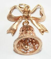 Campanas de boda oro 9ct muy atractivo y arco encanto 3.6G