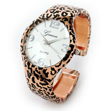 New Leopard Rose Gold Large Dial Women's Metal Bangle Cuff Watch