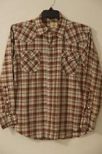 Big Mac Men's Western Shirt~Size S~Brown~Plaid~Long Sleeve~Pearl Snap~Vintage