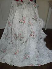 Qualità Vintage Rose & Damasco Tende a balze Francese Shabby Chic Cottage Bianco