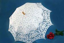 """26"""" Floral White Lace Parasol Battenburg Lace Wedding Bridal Umbrella"""