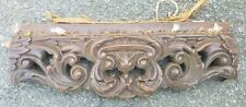 "Carved mahogany pediment 18 x 6"" Antique vintage wood"