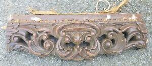 "Carved mahogany pediment 18 x 6"" Antique vintage wood"