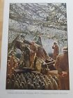 WWI ANTIQUE PRINT Royal artillery - Camouflaged British Howitzer of Great War