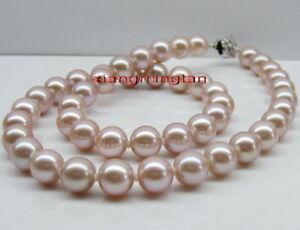 """round AAAAA 18""""11-12mm REAL natural south sea PINK PURPLES  pearl necklace 14K"""