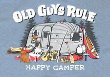 """Old Guys Rule """"Happy Camper"""" X-Large Tee Shirt Blue"""