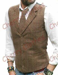 Mens Waistcoat Brown Tweed Wool Blend Tailored Fit Check Lapel Collar Vest