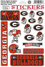 Georgia Bullldogs Vinyl Die-Cut Sticker Decals - 18 per sheet