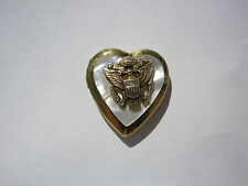 Sterling Silver and 1/25 12k Hinged Heart Locket with U.S. Military Eagle 5.2 gr