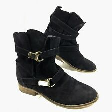Steve Madden Haggle Belted Ankle Boots Black suede leather Sz 7 M
