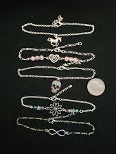 5 Silver Tone anklets Horse, Skull, Heart, Flower, Infinity