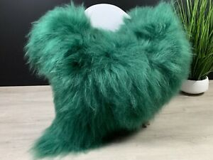 Large Icelandic Dyed Green Real Sheepskin Rug Pelt Seat cover pet bed throw