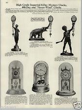 1930 PAPER AD 8 Day Mystery Clocks Salome Elephant Gamin Anniversary