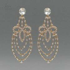 18K Gold Plated GP Clear Crystal Rhinestone Chandelier Drop Dangle Earrings 2589