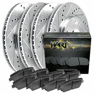 [FRONT+REAR KIT]Platinum Hart -*DRILL & SLOT* Brake Rotors  +CERAMIC Pads- 1478