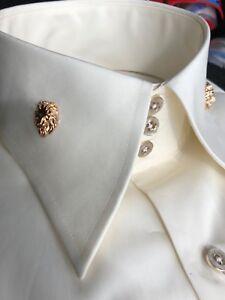 Ivory High Collar Lion Head Shirt
