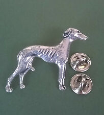 Greyhound/Lurcher Pewter Pin, hand made in Cornwall, comes with two pin backs