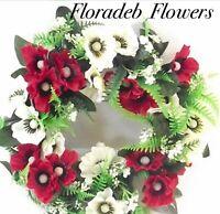 ARTIFICIAL SILK FLOWERS.....30cm ANEMONE & FERN WREATH IN IVORY & RED