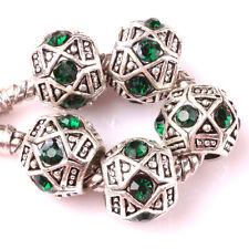 Fashion 5pcs Silver Czech big hole Beads Fit European Charm Bracelet DIY #D137