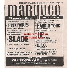 PINK FAIRIES UK TIMELINE Advert - Marquee Thurs-23-Dec-1971 3x4 inches