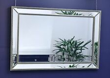 Large Silver Mirror on Mirror With Beaded Frame 120cm X 79cm