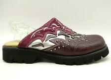 Justin Burgundy Embossed Jeweled Leather Fashion Clog Mules Shoes Women's 6.5 B