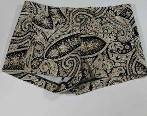 J.CREW Womens Hot Pants Black Brown Paisley Flat Front Stretch Short Shorts 6