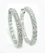 4 CT GORGEOUS 1 Inch In & Out DIAMOND Hoop Earrings 14K WG