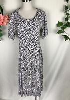 RAAM Vintage 90s White Purple Floral Short Sleeve Mid Calf Dress - Size 8-10