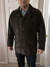 Brown Suede Leather Jacket Coat 3/4 length by 26 Red, Mens XL, gloves included