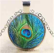 Peacock feathers Photo Cabochon Glass Tibet Silver Chain Pendant Necklace