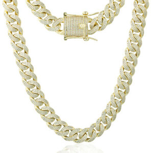 Mens Gold Plated Heavy 5A Iced CZ Out Miami Cuban Link Bracelet Chain Necklace