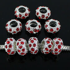 20pcs Red Czech Crystal Silver Big Hole Spacer Charm Beads Fit European Bracelet
