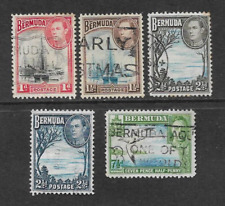 BERMUDA POSTAGE ISSUE, 5 USED DEFINITIVE STAMPS 1938, KGV1 & LANDSCAPES